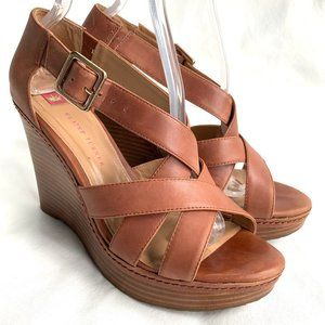 Elaine Turner wedge sandals brown leather strappy